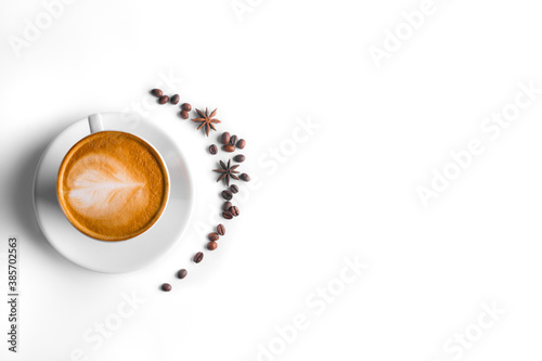 Coffee and grains of coffee on a white background Fototapet