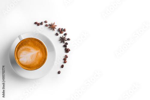 Coffee and grains of coffee on a white background Billede på lærred