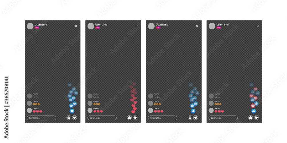 Fototapeta The mockup is live streaming. Streaming video with emoji. The template for the the social network. Stream interface.