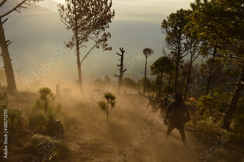 Sunrise hiking and camping on the top of the active Volcan Acatenango while the Canvas Print