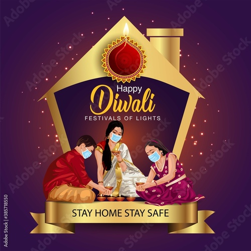 happy diwali greetings. a family making diya decoration with wearing surgical mask. covid corona virus concept