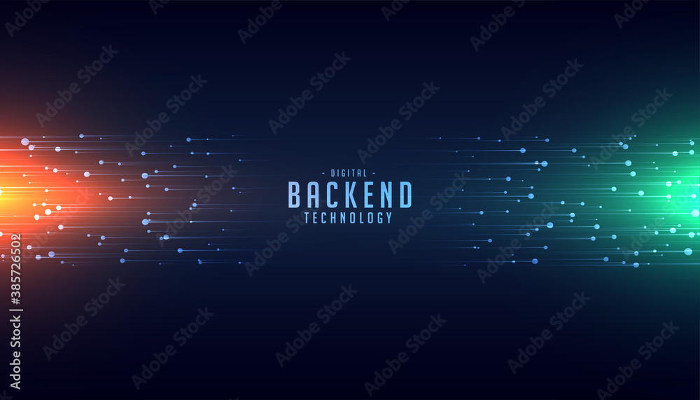 Fototapeta backend technology concept with glowing lines background