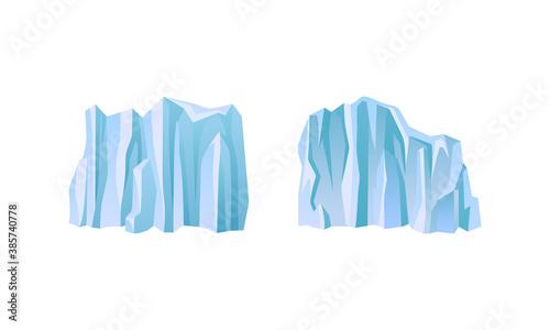 Fényképezés Blue Icebergs Peaks with High Cliff Vector Set