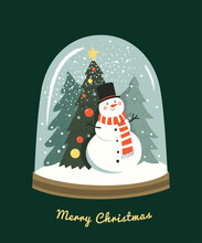 Christmas Greeting Card. Vector Illustration In Contemporary Flat Style Of Glass Snow Globe With Christmas Tree And Snowman Inside. Isolated On Dark Green Background