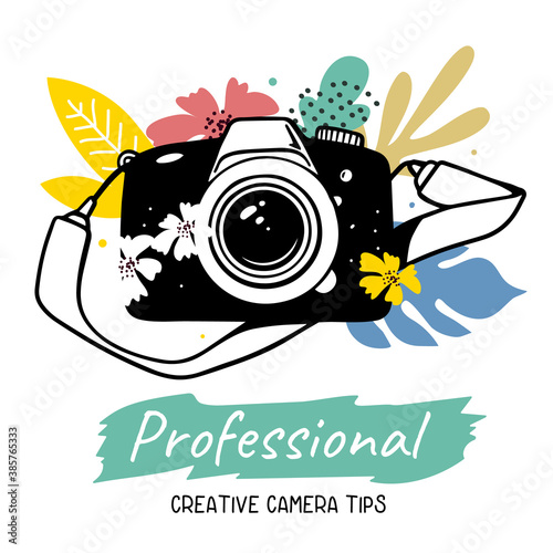 Vector illustration of black slr photo camera with flower and strap on white background with text.