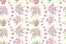 Vector Seamless  Floral Spring Pattern On A Light Background Different Bouquets Of Pink And Lilac Flowers, Hibiscus Flower, Alyssum, Feminine Print For Fabric Design.