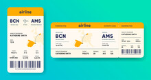 Paper And Mobile Boarding Pass. Responsive Design Of Airline Ticket. Passenger Travel Data Card Mockup. Flight Check-in Document Template. Portable E-ticket With Journey Map. Vector Illustration.