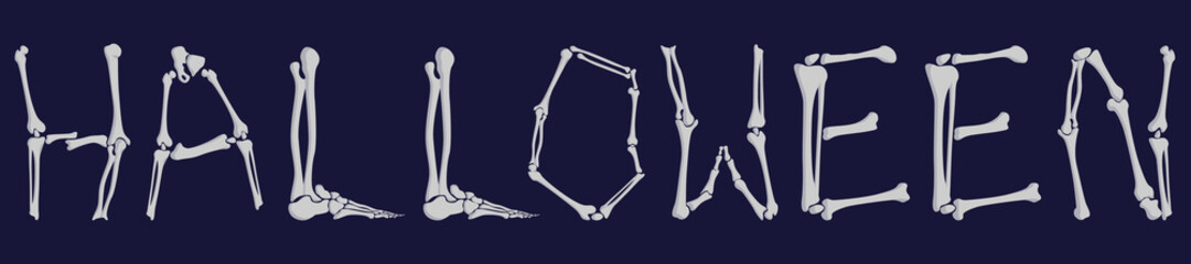 The inscription on Halloween, three-dimensional, human bones.