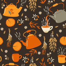 Tea Seamless Pattern With Teapots And Mugs. Vector Graphics