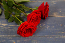 Red Roses On Wooden Board, Val...