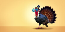 Healthy Thanksgiving Banner As A Seasonal Sign With A Turkey Tom Or Gobbler Wearing A Medical Face Mask And Surgical Facial Protection For Disease Prevention And Virus Protection