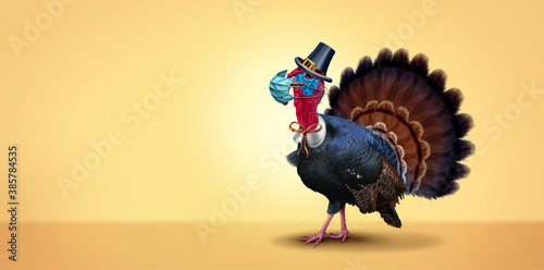 Obraz Healthy Thanksgiving banner as a seasonal sign with a turkey tom or gobbler wearing a medical face mask and surgical facial protection for disease prevention and virus protection - fototapety do salonu