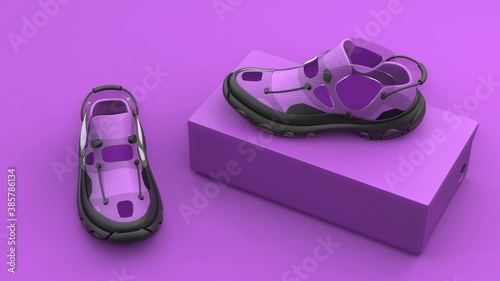 Obraz Footwear concept with box package on pink background. Modern design. 3d illustration. - fototapety do salonu