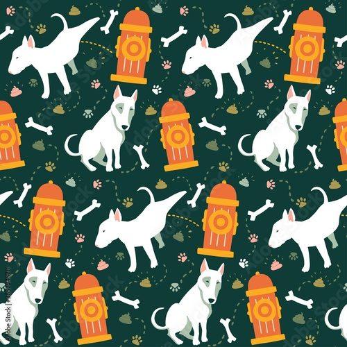 Papel de parede Seamless cartoon dogs pattern with fire hydrant, bones, footprint and poop