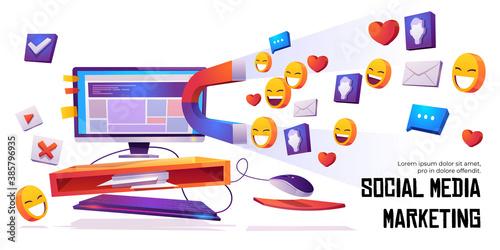 Social media marketing banner magnet attract likes Canvas Print