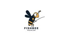 Bee Honey Fishing Cute Cartoon Vector Illustration Design