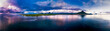 Mauritius, Black River, Flic-en-Flac, Helicopter panorama of Indian Ocean at dusk with island in background