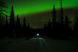 Northern lights over lone hiker standing in middle of forest road at night