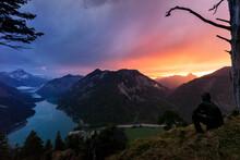 Austria, Tyrol, Silhouette Of ...