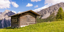 Wooden Hut Is Swiss Alps