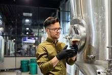 Man Working In Craft Brewery C...