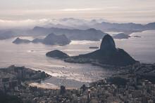 High Angle View Of Rio De Janeiro City Along Coast Line With Sugarloaf Mountain