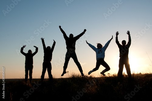 Fotografía Silhueta de pessoas felizes