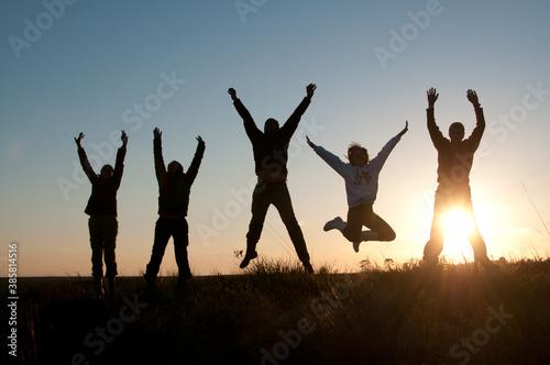 Cuadros en Lienzo Silhueta de pessoas felizes