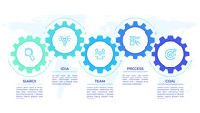 Gears Infographics. Cogwheels Transmission Connecting Mechanical, Engineering Techo Progress Business Presentation Start-up Vector Concept. Cog Wheel Connection Banner, Gear Infographic Illustration