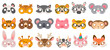 Animal mask. Photo booth props, panda bear and zebra, tiger and pig, koala and cow, unicorn and monkey, owl carnival zoo masks vector set. Illustration booth carnival, cartoon props costume