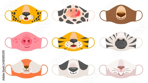 Naklejka premium Medical mask with animals faces. Tiger, pig and zebra, bear and rabbit, fox and cow kids covid-19 protective masks vector set. Face animal protection mask against coronavirus illustration