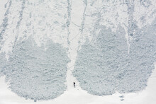 Aerial View Of Man Skiing At C...
