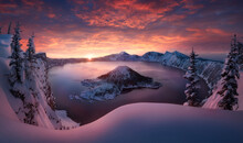 Scenic View Of Crater Lake In ...
