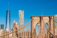View Of Manhattan Skyline With Brooklyn Bridge