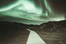 Aurora Borealis Over Path Lead...