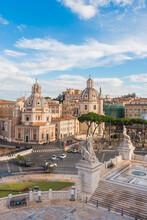 View Of Roman Forum And Altare Della Patria Against Cloudy Sky