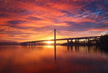 Sunrise Over Bay Bridge In San...