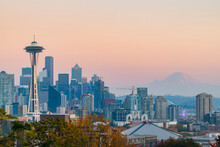 Scenic View Of Space Needle And Seattle Skyline During Sunset
