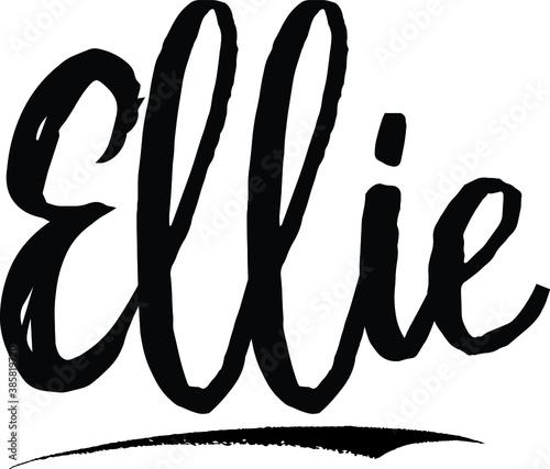 Fotomural Ellie-Female name Modern Brush Calligraphy on White Background