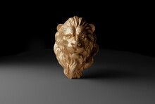 3d Gold Lion Bust Render Illus...