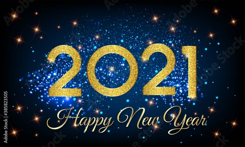 Fototapeta 2021 Happy New Year Golden Number with Shining Background illustration - Happy New Year 2021 Golden Number vector on Shining Background - New Year 2021 Shining Background Vector with Golden text obraz