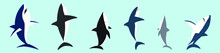 Set Of Shark Animals Cartoon Icon Design Template With Various Models. Vector Illustration Isolated On Blue Background