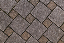 Fragment Of Sidewalk From Square Tiles Of Different Sizes