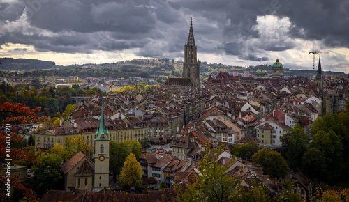 Fototapety, obrazy: Panoramic view over the city of Bern - the capital city of Switzerland - travel photography