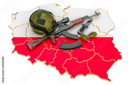 Obraz Military force, army or war conflict in Poland concept. 3D rendering - fototapety do salonu