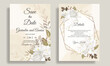 Elegant wedding invitation card template set with beautiful white floral and leaves Premium Vector