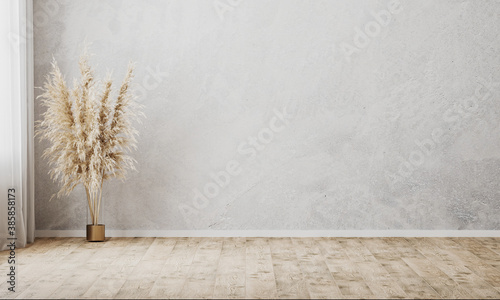 Fotografering Empty room with gray wall and wooden floor, curtain and vase with decorative dri