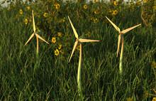 Three Wind Turbines In Field W...