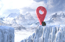 Red Map Pin Icon In Snowy Moun...