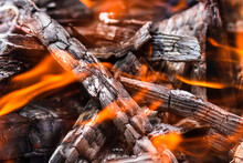 Burning Wood Chips Forming Coa...